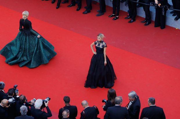 Victoria Bonya (R) and Hofit Golan attend the Closing Ceremony of the 70th annual Cannes Film Festival.