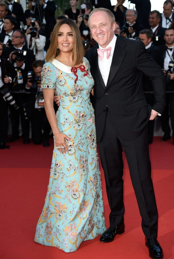 Salma Hayek and Francois-Henri Pinault attend the 70th Anniversary of the 70th annual Cannes Film Festival.