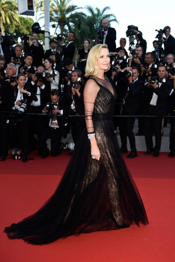 Charlize Theron attends the 70th Anniversary screening during the 70th annual Cannes Film Festival.