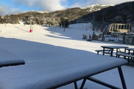 Thredbo Ski Resort- Ski slopes and winter picnic tables