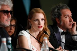 Speaking out: Jessica Chastain at Cannes with president of the jury Pedro Almodovar and jury member Paolo Sorrentino.