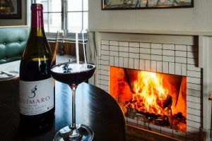 The roaring fireplace at Bar Rochford in Civic.