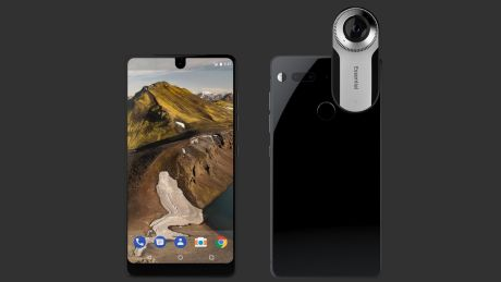 The Essential smartphone, with and without its sold-separately 360 degree camera.