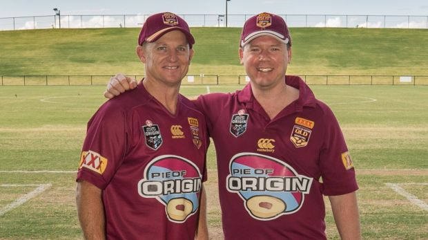 Former Origin player Kerrod Walters and pie maker Mark Hobbs have teamed up to raise money for the Lady Cilento ...