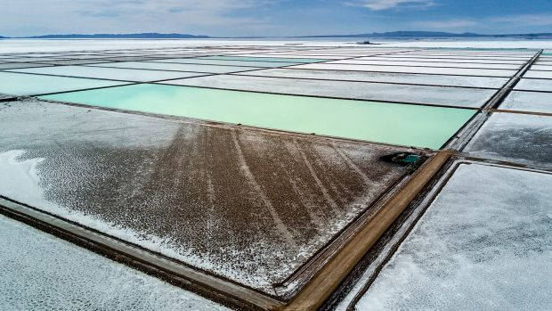 Desert energy - lithium evaporation pools on the salt lakes of Bolivia.