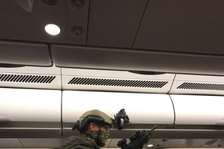 Heavily armed police boarded the plane after it returned to Melbourne.