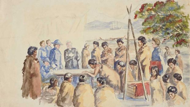 A painting showing the signing of New Zealand's Treaty of Waitangi in 1840. Britain's decision to secure sovereignty ...