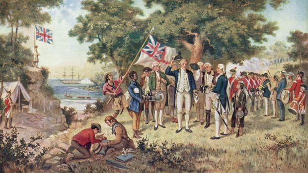 A painting showing Captain James Cook claiming New South Wales for Britain.