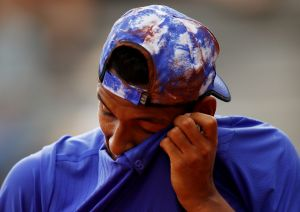 Nick Kyrgios reacts during his loss to Kevin Anderson.