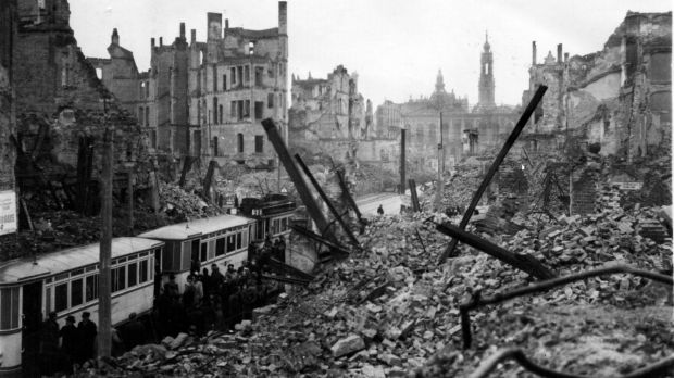 The destroyed city of Dresden in 1946. Britain's official war history did not mention the bombing campaign.