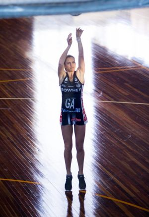Utility value: Shae Brown, the Magpies' midcourter turned goalshooter, practises ahead of Saturday's Super Netball ...