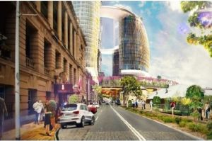 William Street looking east in the future, with Treasury at left and Printery and former DPI building further along ...