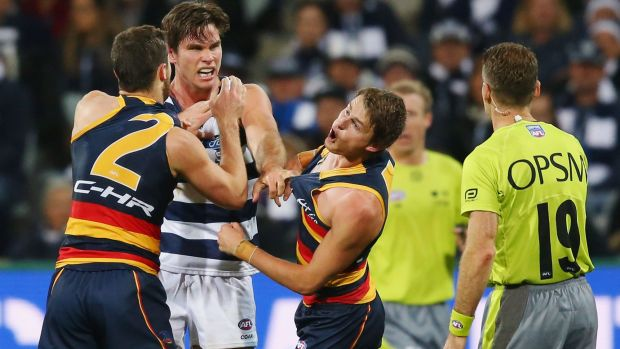 Cop that: The Crows' Matt Crouch reacts as brother Brad and 200-game Cat Tom Hawkins wrestle at Simonds Stadium on ...