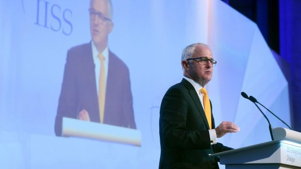 Malcolm Turnbull delivers the keynote address at the Shangri-La Dialogue in Singapore earlier this month.