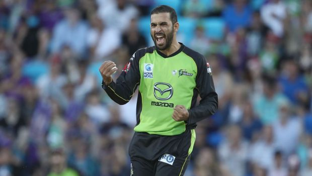 Fawad Ahmed of the Thunder celebrates running out Ben McDermott of the Hurricanes last year.