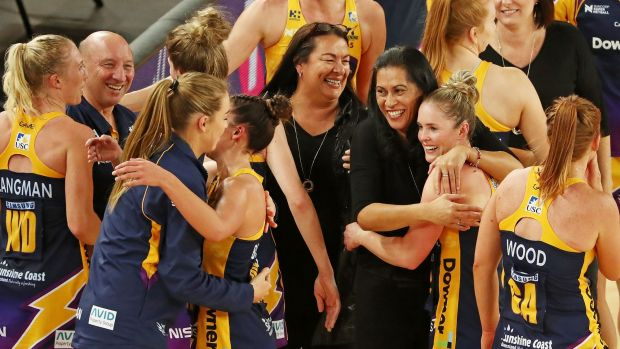 Ecstatic Sunshine Coast Lightning coach Noeline Taurua celebrates their grand final berth with her players.