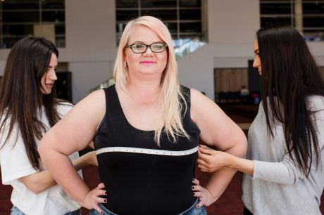 Me being measured by the Fashfest team at my audition. I was an average of 30cm bigger than the other models across all ...