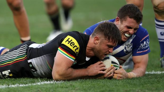 Rein storm: Mitch Rein goes over for a Penrith try.