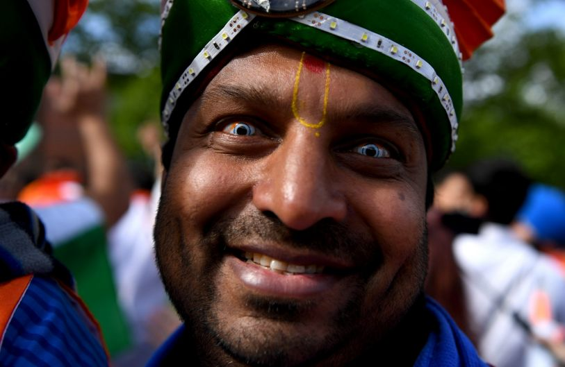 Indian cricket fans arrive for the ICC Champions Trophy match between India and Pakistan at Edgbaston in Birmingham, England.