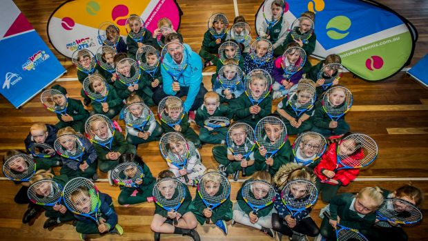 Tennis star Todd Woodbridge says the Hot Shots program is the most important one to get kids playing tennis. He was ...