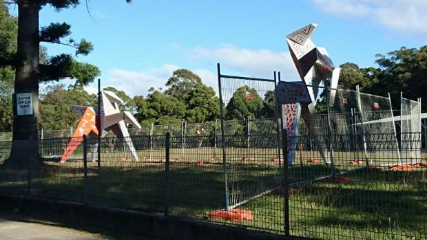 The Origami Horses at their new home at Riding for the Disabled.