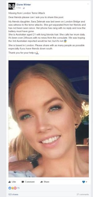 A post, which has since been deleted, calling for help to find Ms Zelenak.