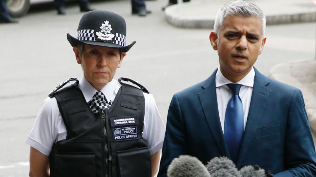 Mayor of London Sadiq Khan, pictured with London Police Commissioner Cressida Dick.