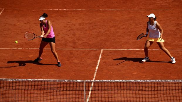 On the cusp of history: Aussie pair Casey Dellacqua and Ashleigh Barty.