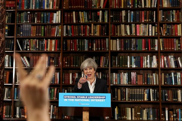 British Prime Minister, Theresa May speaks at RUSI as she resumes the Conservative party election campaign in London.