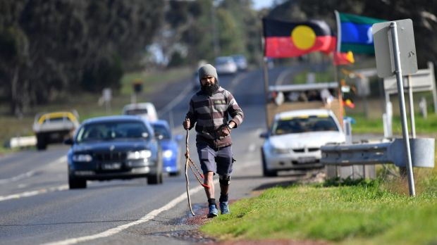 Clinton Pryor is walking from Perth to Canberra.
