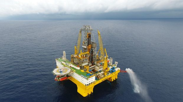 Rich in minerals: A drilling platform extracts natural gas from combustible ice trapped under the seafloor of the South ...