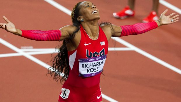 Sanya Richards-Ross (USA) wins gold at the London 2012 Olympic Games.