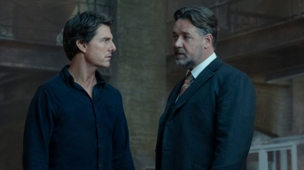 Talky tedium: Tom Cruise (Nick Morton) and Russell Crowe (Dr Henry Jekyll) in The Mummy.