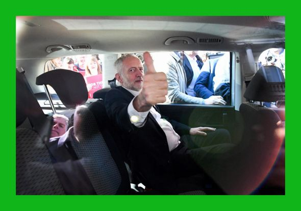 Jeremy Corbyn, leader of the UK Labour Party, gives the thumbs up during a campaign rally in Glasgow, Scotland.