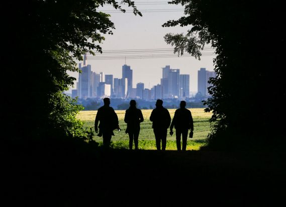 Four young people walk through a forest in Wachenbuchen near Frankfurt, Germany.