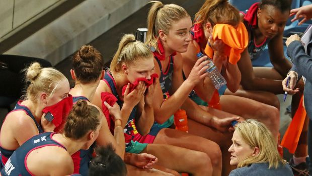 Melbourne Vixens coach Simone McKinnis speaks to her team during the Super Netball semi-final against the Lightning last ...