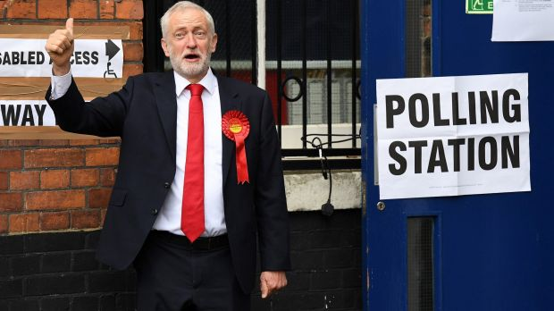 Labour Party leader Jeremy Corbyn casts his vote at a polling station at Pakeman Primary School, London, on June 8.