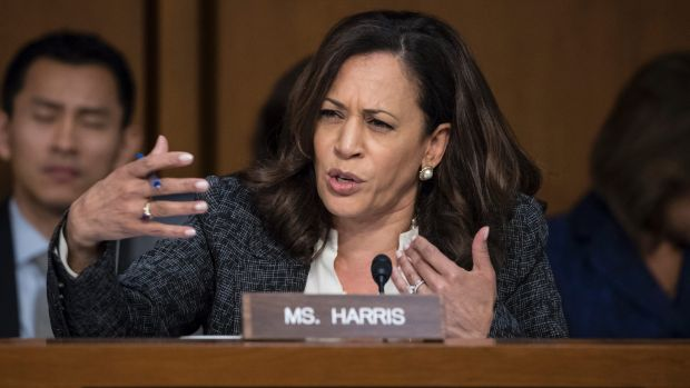 Democratic senator Kamala Harris questions former FBI director James Comey about a series of conversations with ...