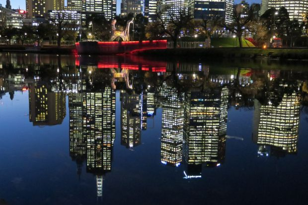 Melbourne upside down on the Yarra at Birrarung Marr.