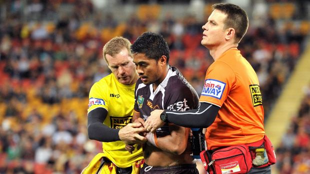 Big loss: Anthony Milford leaves the field.