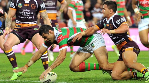 Gallant effort: Bryson Goodwin goes over for Souths.