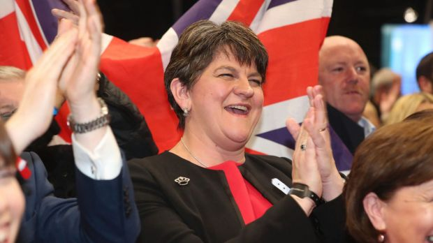 Democratic Unionist Party Leader Arlene Foster celebrates on election night.