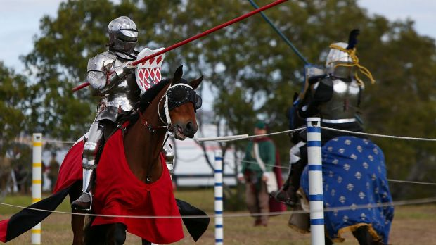 Sir Anthony Hodges and Lady Eliza Jane compete in the newly added jousting tournament.
