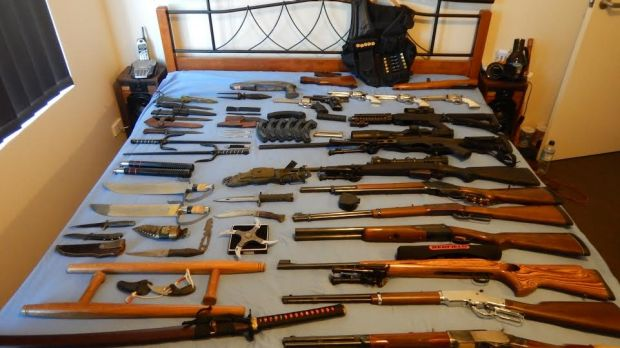 Guns seized from a home in Western Australia.