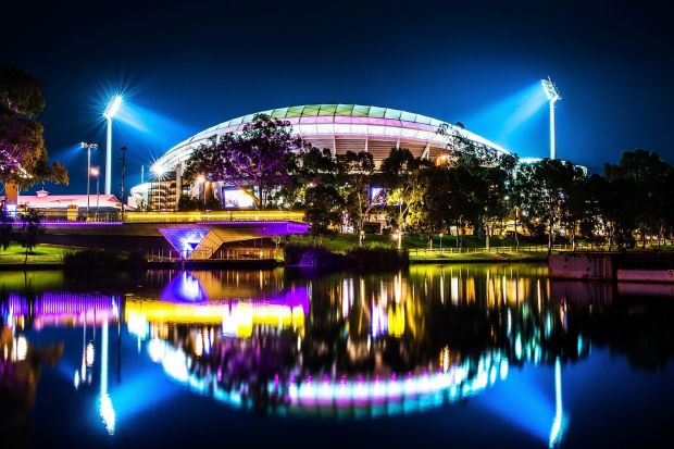 Adelaide Oval is pictured from the banks of the River Torrens prior to the round 12 AFL match between the Adelaide Crows ...