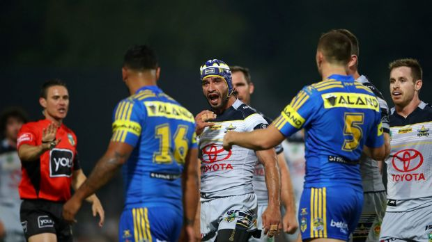 Back with a vengeance: Johnathan Thurston returned in style to destroy the Eels.