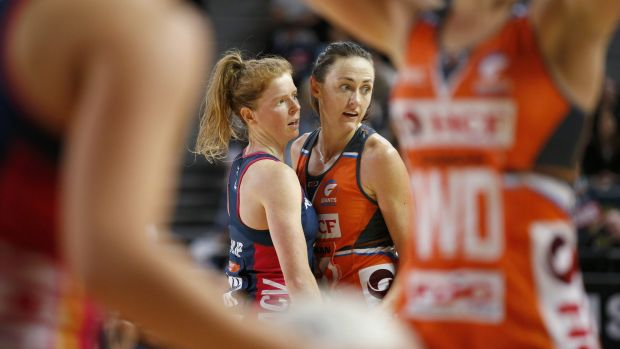 The Giants' Rebecca Bulley marks Melbourne's Tegan Philip.