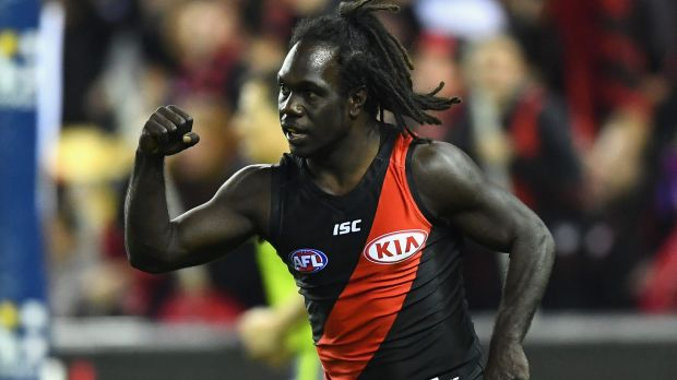 Essendon's Anthony McDonald-Tipungwuti celebrates one of his four goals.