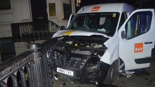 The van used in the London Bridge attack on June 3. Police say homemade petrol bombs were found in the back.