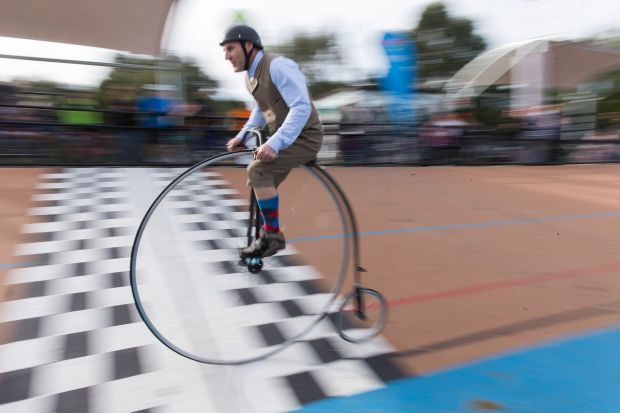 The Penny Farthing race at Brunswick Velodrome.
